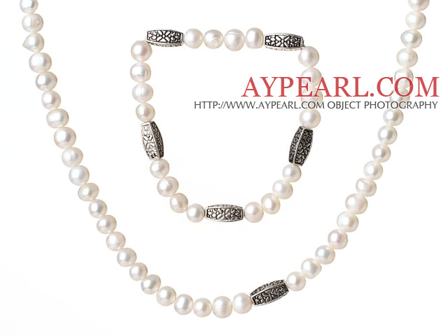 Fancy Elegant Style 6-7mm Single Strand White Freshwater Pearl Jewelry Set (Necklace with Matched Bracelet)