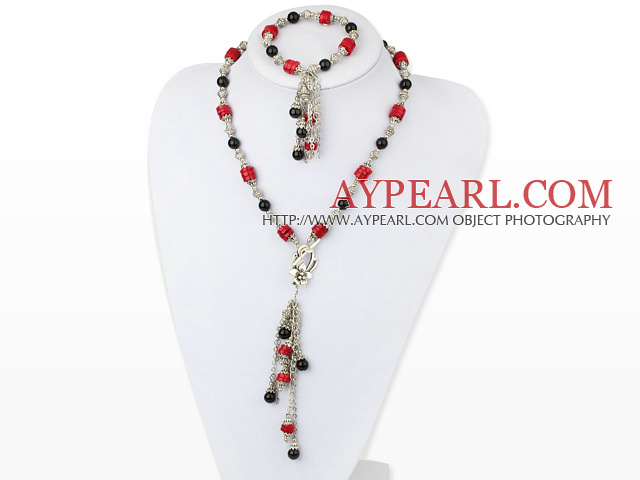 antique jewelry black agate red coral necklace bracelet set