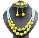 Wholesale Popular Trendy Style Yellow And Light Blue Crystal Beads Jewelry Set (Necklace With Matched Bracelet And Earrings)