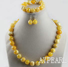 Wholesale 14mm burst pattern yellow color agate ball necklace bracelet earrings set