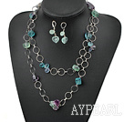 Wholesale rainbow fluorite necklace and matched earrings set