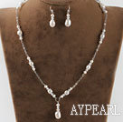 white pearl and clear crystal necklace earrings set