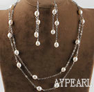 2 strands 8--9mm white pearl bridal necklace earrings set