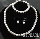 Wholesale 8.5-9mm A Grade Round Natural White Freshwater Pearl Set ( Necklace Bracelet and Matched Earrings )