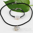 Wholesale lovely grey agate necklace bracelet set with extendable chain