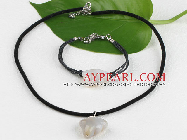 lovely grey agate necklace bracelet set with extendable chain