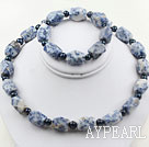 Wholesale Black Freshwater Pearl and Aniseed Blue Spot Stone Set ( Necklace and Matched Bracelet )
