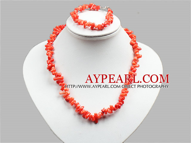 Special Design Popular Orange Coral Chips Jewelry Set (Necklace And Bracelet)