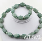 Dark Green Freshwater Pearl and Aniseed Aventurine Set ( Necklace and Matched Bracelet )