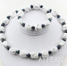 Black Freshwater Pearl and Aniseed Howlite Set ( Necklace and Matched Bracelet )