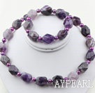 Purple Freshwater Pearl and Aniseed Amethyst Set ( Necklace and Matched Bracelet )