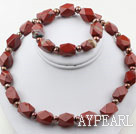 D'eau douce Brown Pearl et Anis jaspe rouge Set (Collier et bracelet assortis)
