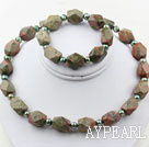Wholesale Green Freshwater Pearl and Aniseed Unakite Set ( Necklace and Matched Bracelet )