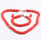 Popular Style de forme de disque Bright Red Coral Jewelry Set (Collier et bracelet assorti et boucles d'oreilles)