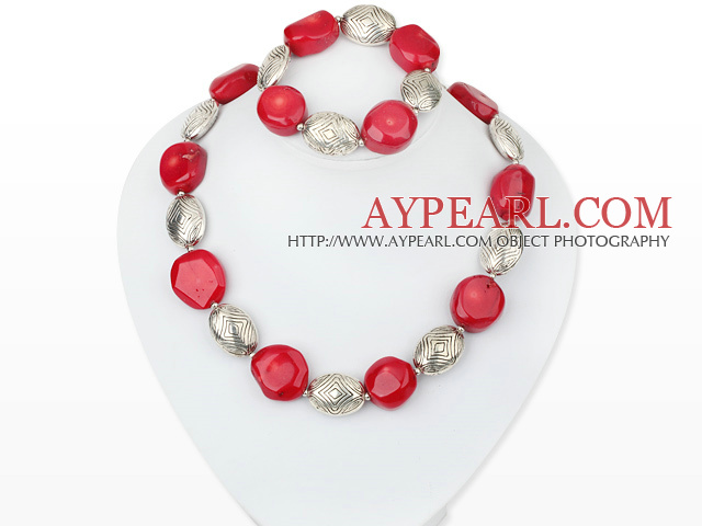red coral and tibet silver necklace bracelet set