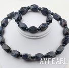Dark Blue Freshwater Pearl and Aniseed Sodalite Set ( Necklace and Matched Bracelet )