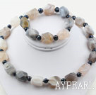 Black Freshwater Pearl and Aniseed Gray Agate Set ( Necklace and Matched Bracelet )