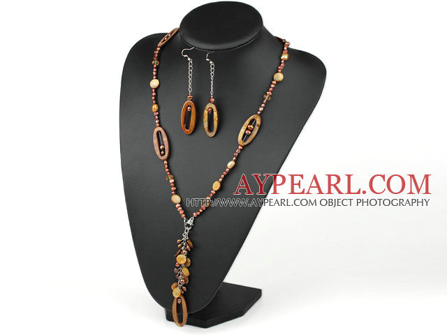 brown pearl crystal and shell necklace earrings set
