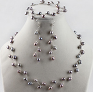 bridal jewelry 6-7 natural grey rice pearl necklace bracelet earrings set