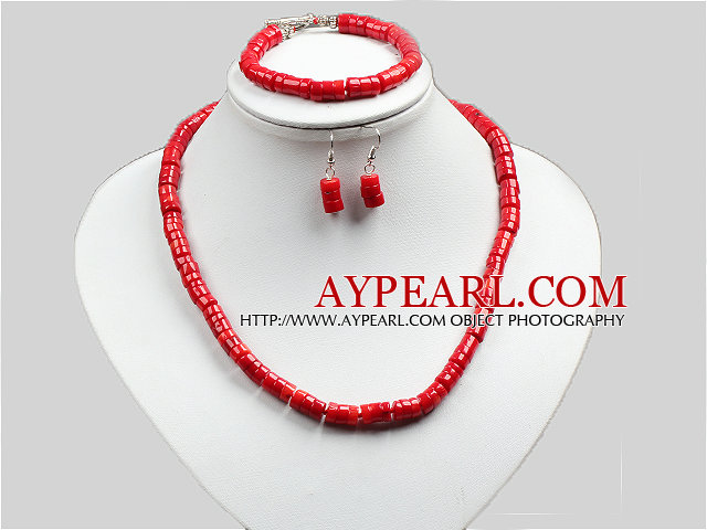 Summer Style Bright Red Coral Necklace Bracelet And Earrings Set