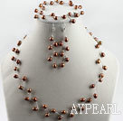 Wholesale bridal jewelry 6-7mm natural brown rice pearl necklace bracelet earrings set