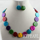 Wholesale multi color shell disc necklace earrings set