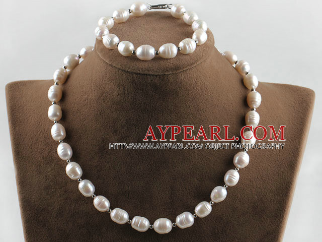 10-11mm white fresh water rice pearl necklace bracelet set