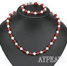 popular white pearl red agate necklace bracelet set