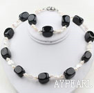Wholesale White Coin Freshwater Pearl and Rounded Black Stone Set ( Necklace and Matched Bracelet )