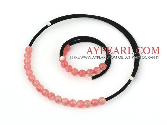 8mm round cherry quartz necklace bracelet set