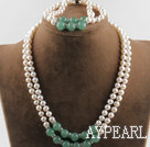 double strand white pearl and aventurine necklace bracelet set with slide lock clasp