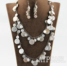 Wholesale white disc shape shell crystal necklace earrings set