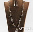 Marvelous White And Smoky Crystal Necklace Earrings Sets