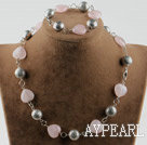 Heart shape rose quartz and tibet silver accessories set (necklace and matched bracelet)