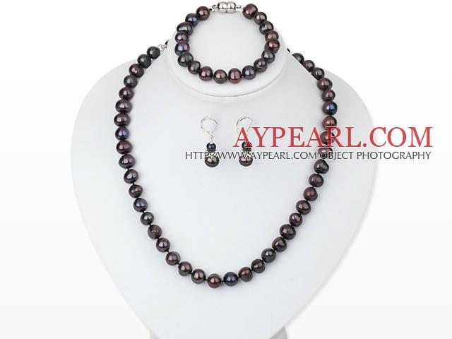 6-10mm dark pearl necklace bracelet earring set