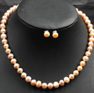 7-8mm Pink Color Pearl Necklace and Matched Studs Earrings Sets