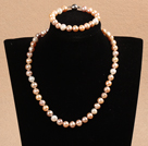 Graceful Hot Sale 9-10mm Natural Smooth White Pink Pearl Jewelry Set (Necklace & Bracelet)