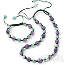 Fashion Round Amethyst And Amazon Drawstring Jewelry Sets With Adjustable Cords (Necklace With Matched Bracelet)