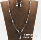 Wholesale Gray silver color pearl crystal sets (necklace and matched earrings)