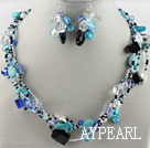 Wholesale lovely white pearl blue crystal and turquoise necklace earrings set