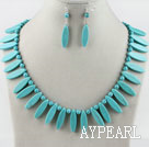 Wholesale leaf shape turquoise necklace earrings set