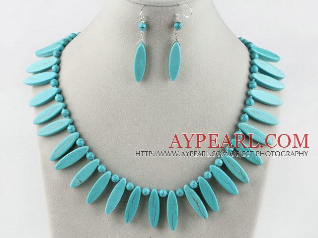 leaf shape turquoise necklace earrings set