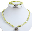 Classic Simple Design Potato Shape Kelly Green Pearl Necklace & Bracelet Set With Heart Charm