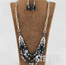 Wholesale gray pearl crystal and Brazil agate necklace earrings set
