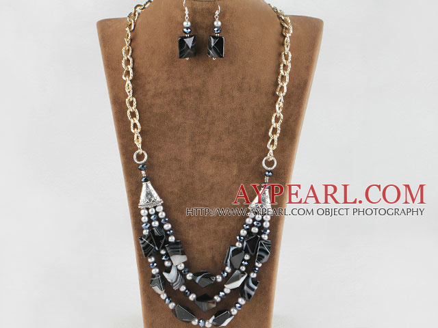 gray pearl crystal and Brazil agate necklace earrings set