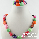 Wholesale chunky style multi color turquoise necklace bracelet set