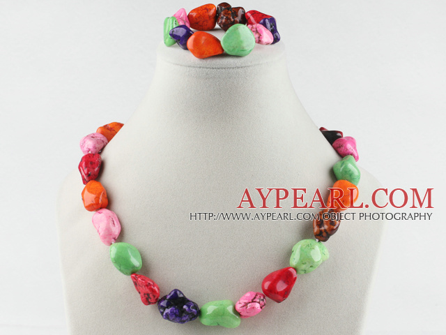 chunky style multi color turquoise necklace bracelet set