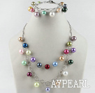 Wholesale multi color sea shell necklace bracelet set