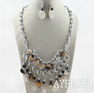 Wholesale Brazil Gray Agate set (Necklace and Matched Earrings)