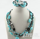 Wholesale Turquoise and Gray Crystal Set (Necklace and Matched Bracelet)